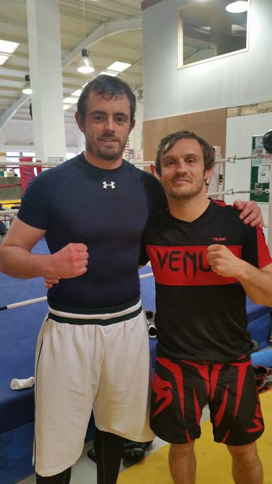 """Rory Downes with Brad """"One Punch"""" Pickett."""