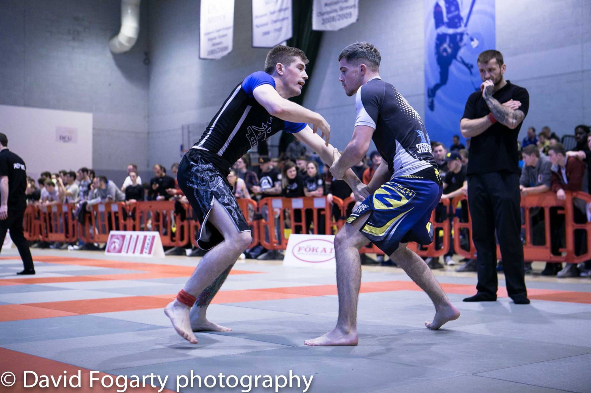 Nathan Kelly (R) works an armdrag from standing against his opponent at The Irish Open Nogi 2015 -3/10/2015 (photo credit David Fogarty Photography)