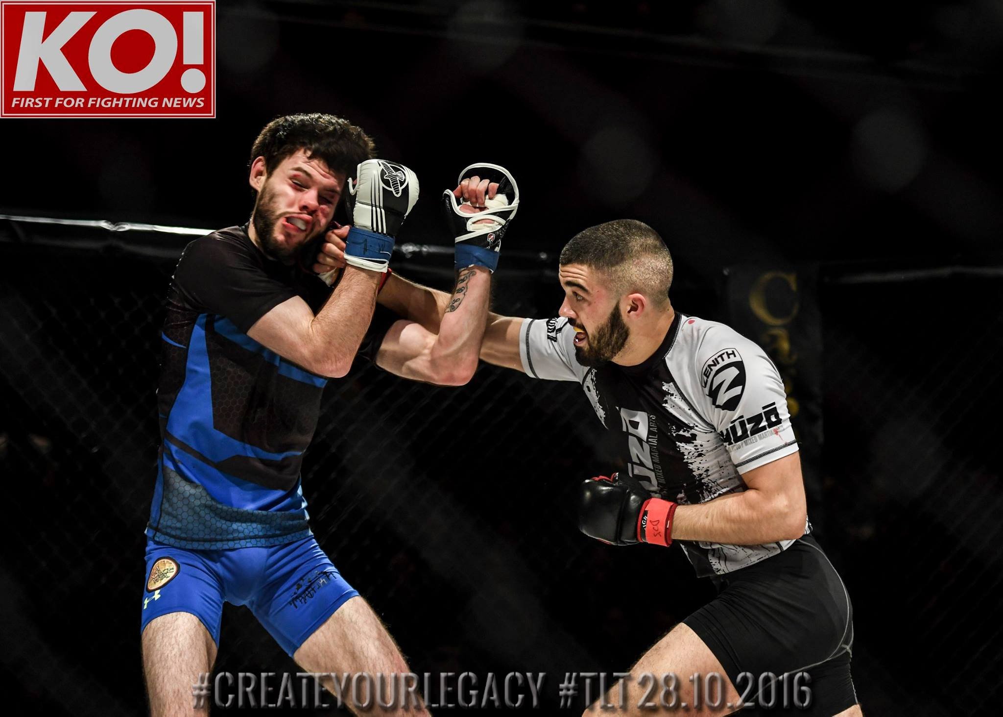 Austin Lynch (Kyuzo MMA) lands a right hand on Padraig Magee (Torres MMA) on his way to winning the bantamweight MMA title at Cage Legacy 28/10/16 (Photo Credit, KO Media)
